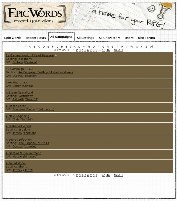 Screenshot of EpicWords.com campaign list