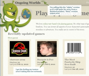 Screenshot of the Ongoing Worlds homepage