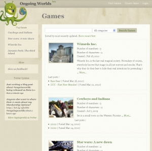 Find games page on OngoingWorlds