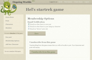 the Membership options page