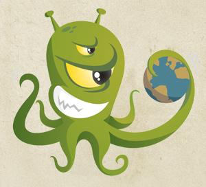 OngoingWorlds logo - an alien holding a world