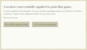 You have successfully applied to join this game