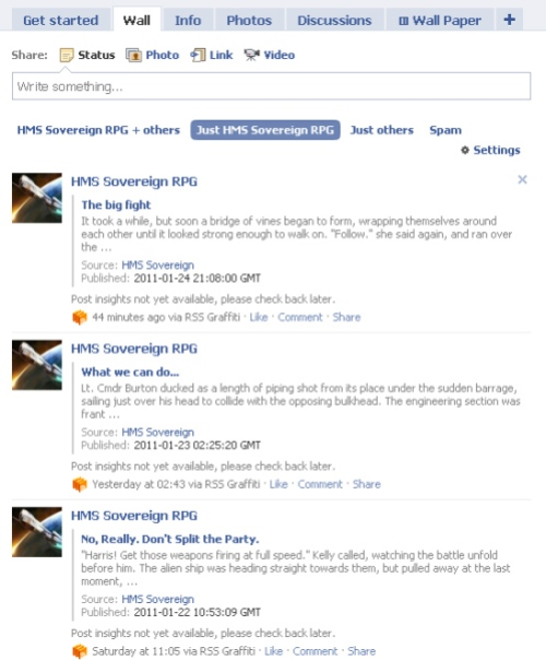 Facebook fan page wall, showing the RSS feed