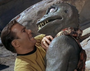 Captain Kirk fighting the Gorn